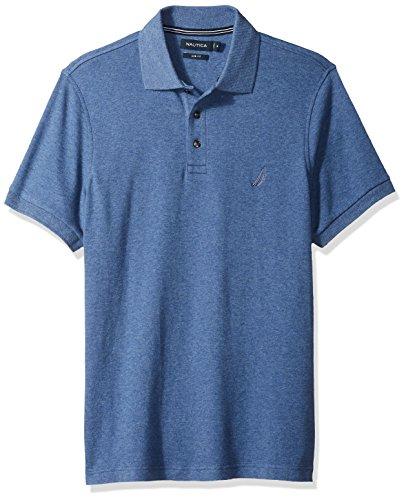 Nautica Men's Slim Fit Short Sleeve Solid Soft Cotton Polo Shirt, Blue Indigo Heather, X-Large