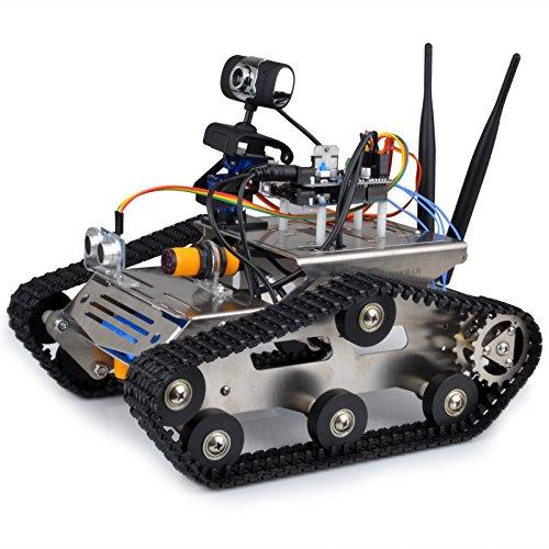 Kuman TH Inalámbrico Wifi Robot Starter Kit para Arduino, Vehículo Robótica Inteligente, HD Cámara Ds Robot Inteligente Robot Kit Educativo para Niños con ...