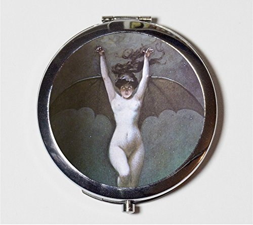 Bat Lady Compact Mirror Albert Penot Goth Edwardian Art Nouveau Woman Make Up Pocket Mirror for Cosmetics
