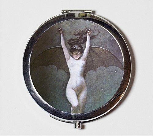 Bat Lady Compact Mirror Albert Penot Goth Edwardian Art Nouveau Woman Make Up Pocket Mirror for - Edwardian Goth