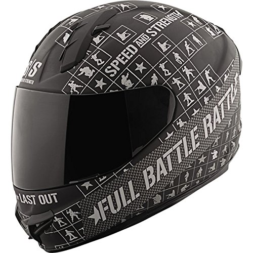 Speed and Strength Full Battle Rattle Men's SS1400 Sports Bike Motorcycle Helmet - Matte Black/Charcoal / Large