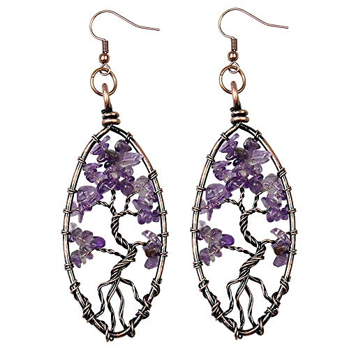 BAYUEBA Dangle Earrings Tree of Life Chakra Jewelry Mothers Day Gifts for Mom Wife Women Amethyst