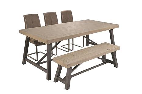 Tavolo Industriale Allungabile : Tavolo da pranzo allungabile in pino riciclato in acciaio napoli set