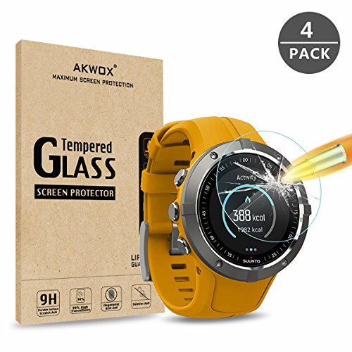 AKWOX [4-Pack Tempered Glass Screen Protector for Suunto Spartan Trainer Wrist HR,[0.3mm 2.5D High Definition 9H Hardness] [Anti Scratch][No-Bubble]