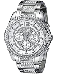GUESS Mens U0291G1 Sporty Silver-Tone Stainless Steel Watch with Chronograph Dial and Deployment Buckle