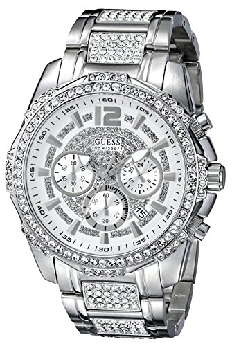 Stainless Dial Buckle Steel (GUESS Men's U0291G1 Sporty Silver-Tone Stainless Steel Watch with Chronograph Dial and Deployment Buckle)