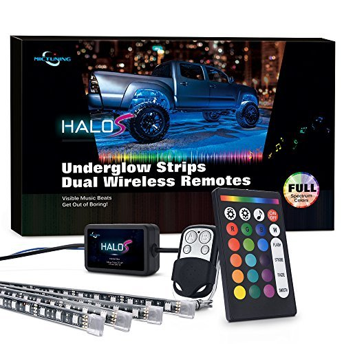 MICTUNING Multicolor LED Underglow Light with Dual Remote Controller Sync with Music - 4 Strips RGB Neon LED Light Kit with Red Brake Light Function