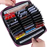 Buvelife Credit Card Wallet Leather RFID Wallet with Zipper for Women or Men, Huge Storage Capacity Credit Card Holder (Purple)