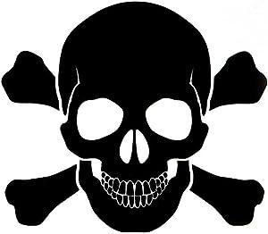 Skull and Cross Bones Vinyl Decal Sticker | Cars Trucks Vans Walls Laptops Cups | Black | 5.5 inches | KCD1277