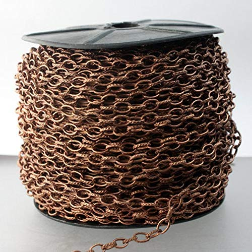 12 feet Antique Copper Chain Texture Drawn Cable Chain - 6.3x3.5mm Unsoldered Link Bulk Chain