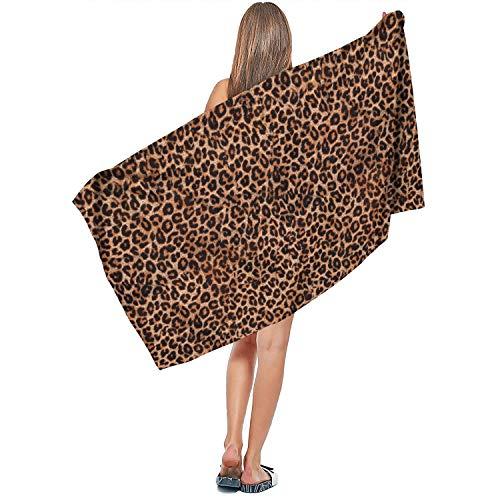 "Rndjisq Leopard Cheetah Print Classic Brown Soft Designer Extra Large Bath Towel 31.5""x51.2"" Luxury Bath Sheet Ultra Absorbent Quick Dry Summer Beach Towel"