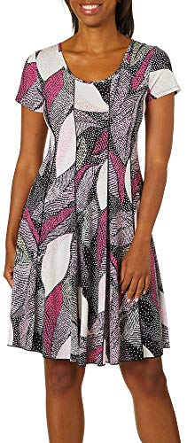 (Sami & Jo Womens Dotted Leaf Print Panel Dress Large Pink Multi)