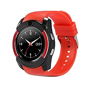 Chefcoco Red Smart Watch Clock with Sim TF Card Slot Bluetooth Suitable for Apple iPhone Android Phone Smartwatch Wristwatch