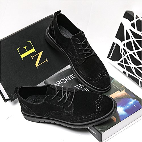Capo Mostra Mens Casual Scarpe In Pelle Scamosciata Brogue Lace Up Flats Dress Oxford Nero