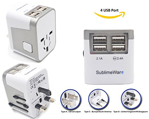 Power Plug Adapter - International Travel - w/ 4 USB Ports work for 150+ Countries - 220 Volt Adapter - Travel Adapter Type C Type A Type G Type I for UK Japan China EU Europe European By SublimeWare (Power Plug Ac Travel)