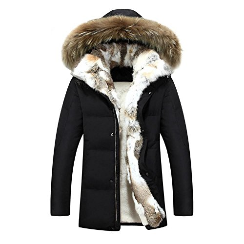Hzcx Fashion Men's Fur Collar Hooded Warm Fleece Lined Down Jackets and Coats(Black,M(40)) (Coats For Men Fur Collar)