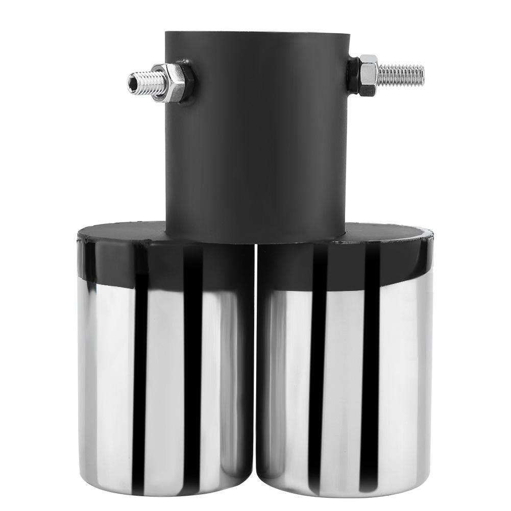 Donkon Stainless Steel Universal Car Dual Outlet Exhaust Pipe Muffler Tip Rear Tail Throat 63-63mm for Most Cars With 40-54mm Diameter Pipe