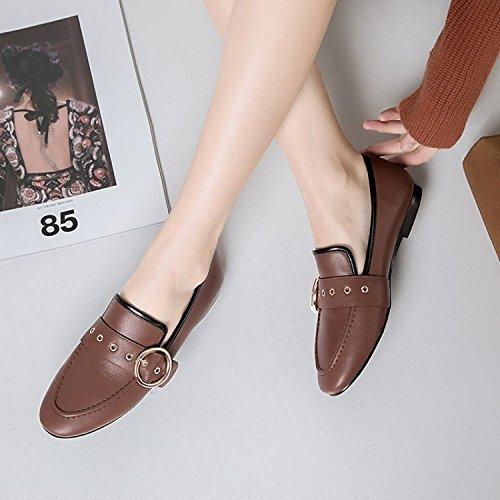 Chaussures Bouche En Simples Souples Plates Boucle Casual Zfnyy Mtal Swqfq7x