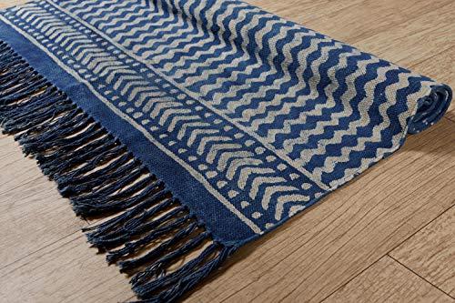 HANDICRAFT-PALACE Indian Handmade Kashish Block Printed Rugs Cotton Designer Area Rug Floor Mat Yoga Mat Bohemian Home Floor Room Decorative Throw Dhurrie Rug 3'x5' Feet (Indigo Blue Waves)