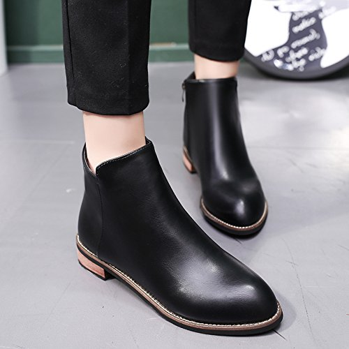 KHSKX-Big Code Short Boots Women With Martin Boots Round Head Large Single Boots Middle And Short Tube Antiskid Students Forty-four PDjhNcTgd