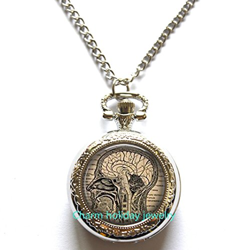 Anatomical brain necklace Pocket Watch,human brain anatomy pendant Pocket Watch, neurologist gift necklace Pocket Watch, biology , medical student gift,neurology pendant