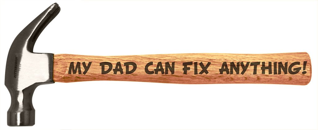 Father's Day Gift for Dad Can Fix Anything DIY Tool Gift Engraved Wood Handle Steel Hammer