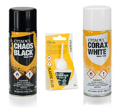 Citadel Bundle: Chaos Black and Corax White Spray Paint with Citadel Plastic Glue