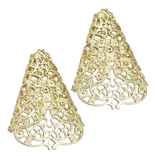 Gold RechicGu 1Pair Bloggers Fairy Elf Pixie Filigree Cut Out Angel Ear Tip Cuff Earrings Fancy Dress]()