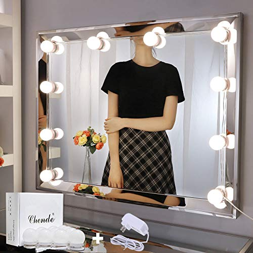 Chende LED Vanity Mirror Lights, 11.53ft Hollywood Make Up Light for Vanity Stick on, 10 Large Daylight Dimmable Bulbs…