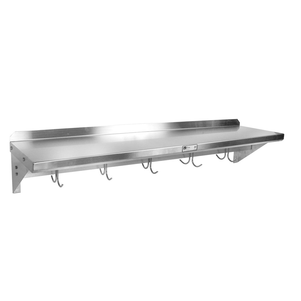 John Boos 18 Gauge Stainless Steel Wall Shelf with Pot Rack, 36 x 12 inch -- 1 each.
