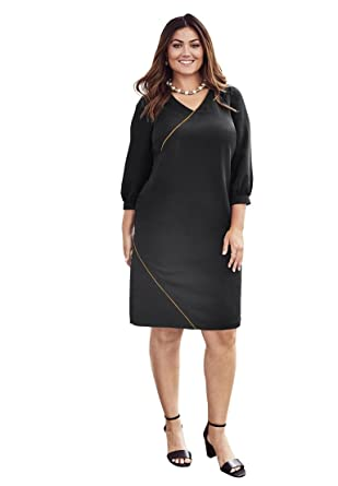 c252a0998216e Jessica London Women s Plus Size A-Line Gold Trim Dress at Amazon Women s  Clothing store