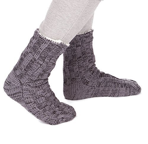 Mens Chunky Knit Fully Fleece Lined Slipper Lounge Socks With