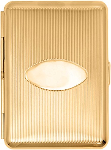 - Gold Oval (14 Kings) Metal-Plated Elastic Bands Cigarette Case & Stash Box