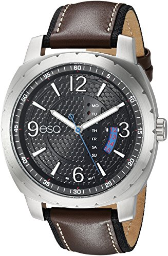 ESQ Men's Casual Stainless Steel Analog-Quartz Watch with Leather-Pig-Skin Strap, Brown, 21.5 (Model: 37ESQE11001A