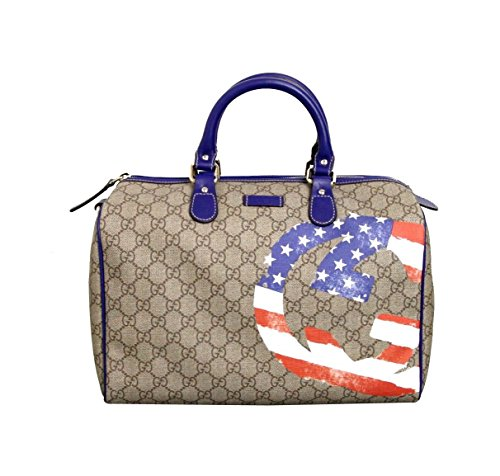 Gucci Beige Coated American Flag Canvas Joy Boston Satchel Bag 195451 (Medium) (Gucci Purse Canvas)