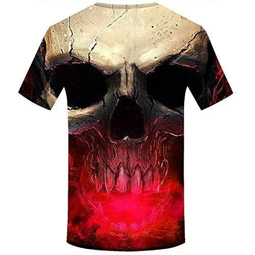 Tops Haut Occasionnels Courtes À Chemisier Manches shirt 3d Imprimé unisexes Ihengh Shirt Pull Tee Skull T Rouge Cqw6z4