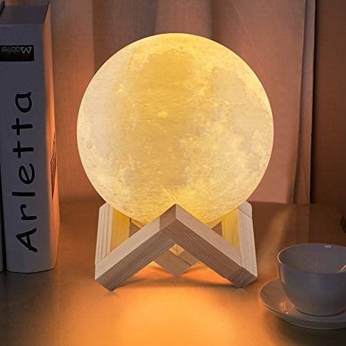 GPJOY Night Light 3D Printing Moon Lamp Rechargeable Lunar Night Light, Dimmable Touch Control Brightness Two Tone Home Decorative Lights Baby Night Light with Wooden Stand, Diameter 5.5 inch