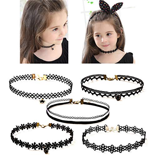 (OCTCHOCO 5Pcs Choker Necklace for Girls Lace Choker Gothic Little Princess Fashion Jewelry)