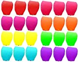 Mini Skater Set of 24 Pack Beautiful Paper Eco Mid Size Santa Friendly Traditial Look Gorgeous Romantic Divine Flying Candle Wishing Lanterns for Wedding, Birthday, & Other Occasions (Colored)