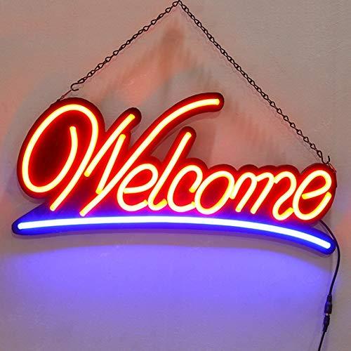 MOCHEN LED 'Welcome' Sign Shop Front Open Sign 240V Illuminating LED Shop Signage 58 x 30cm 2 Illumination Settings Static Running LED Lights Hanging Hooks