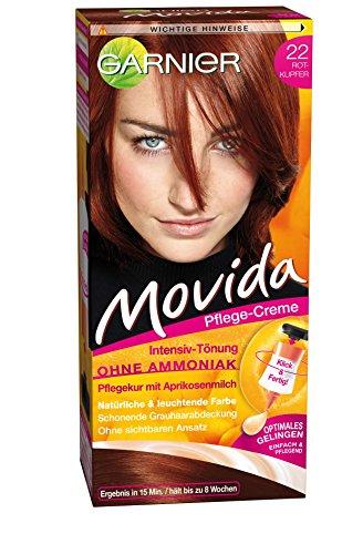 Garnier Tönung Movida Pflege-Creme / Intensiv-Tönung Haarfarbe 22 Rotkupfer (für leuchtende Farben, auch für graues Haar, ohne Ammoniak) 3er Pack Haarcoloration-Set