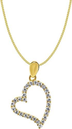 Precious Stars Jewelry 14k Yellow Gold Cubic Zirconia Open Heart Pendant