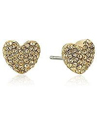 Michael Kors Womens Pave Hearts Tone and Light Colorado Crystal Heart Stud Earrings