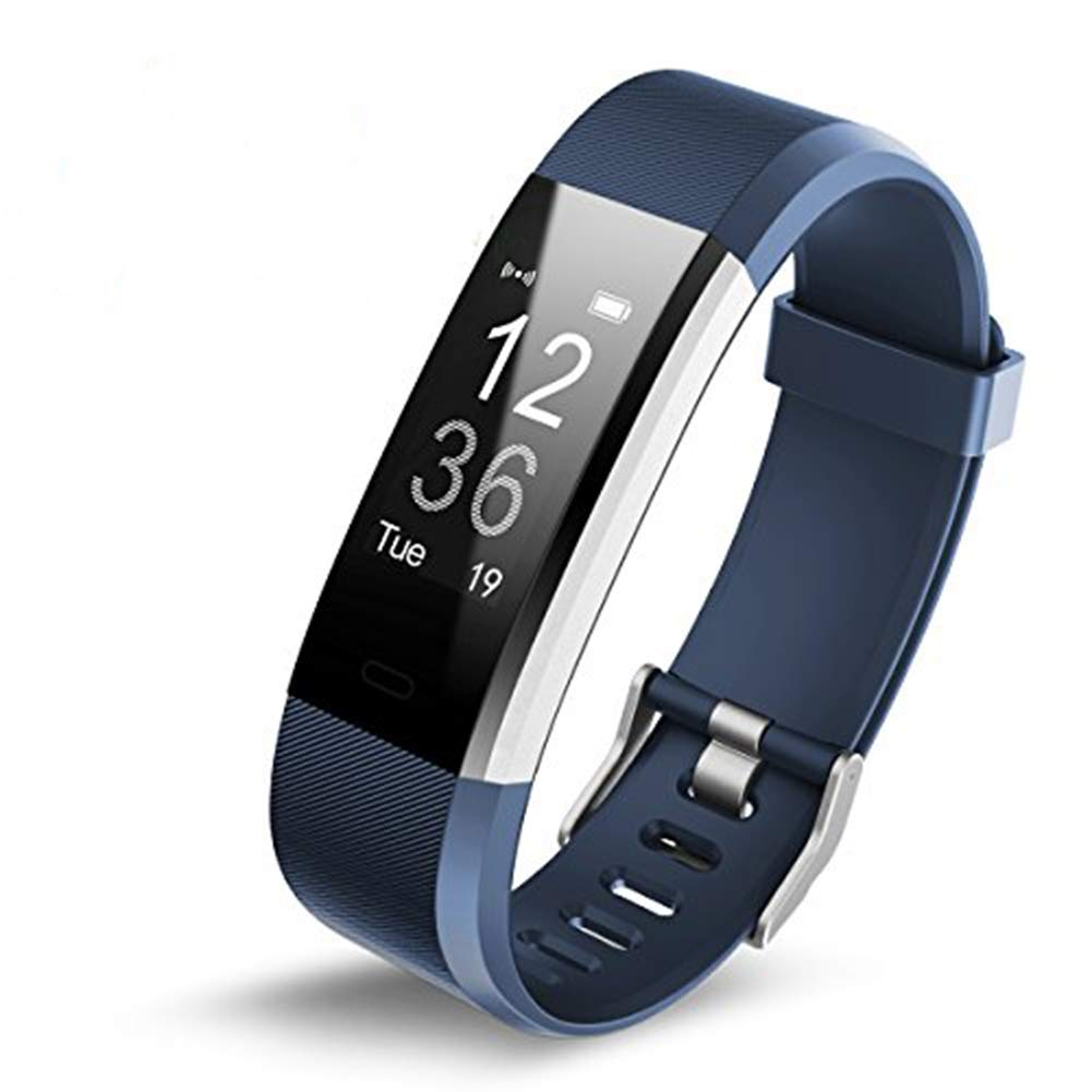 Fitness tracker Activity Tracker with Heart Rate Monitor血圧Sleep MonitorステップカウンタBluetooth防水Android IOSのスマート腕時計ブレスレットメンズレディース ブルー  ブルー B07BNHZY42