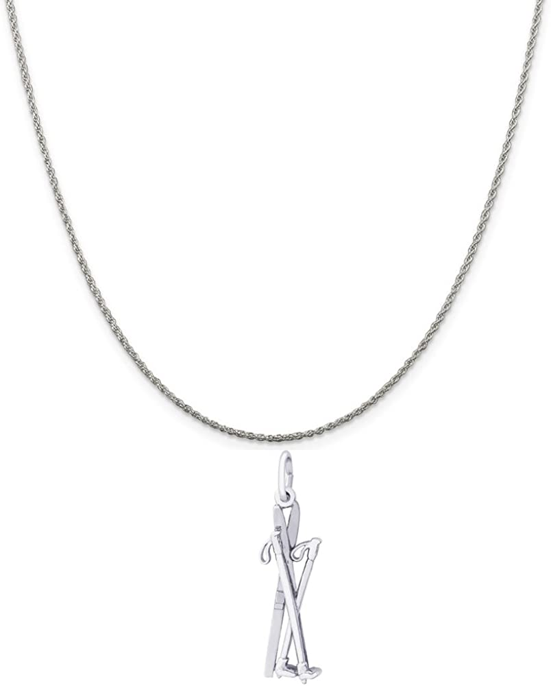 Rembrandt Charms Sterling Silver Cross Country Skis Charm on a 16 Box or Curb Chain Necklace 18 or 20 inch Rope