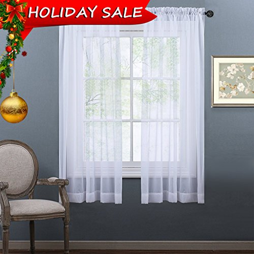 NICETOWN Sheer Curtains 63 Long - Rod Pocket Lightweight Sheer Voile Panel Window and Door Curtains / Draperies (2 Panels, 63 inch, White)
