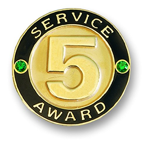 (5 Year Service Appreciation Gold Award Lapel Pin with 2 Green Gemstones, 12 Pins )