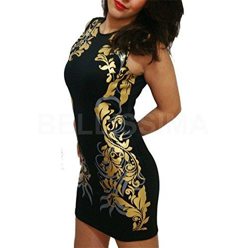 5c0c92e30a21 MYWY - vestito donna vestitini corti party vestitino cerimonia discoteca  mini abito nero nero oro Taglia unica  Amazon.it  Abbigliamento