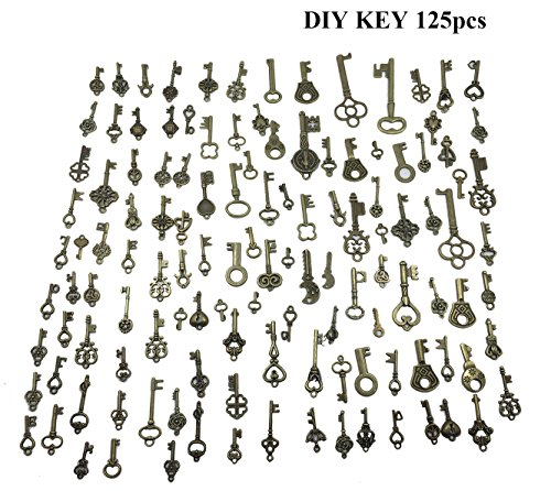 levylisa 125pcs Vintage Antiqued Bronze Skeleton Key Pendant Charm Heart Key Chain Craft Supplies Jewelry Brass Keys Found Objects Ornate Metal Keys Upcycle Key -