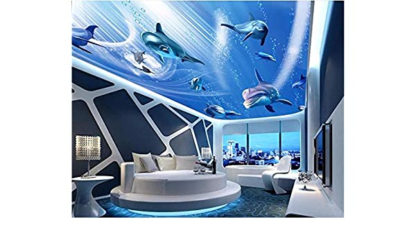 Papel Tapiz 3D Foto Personalizada El Mundo Submarino Delfín Techo ...